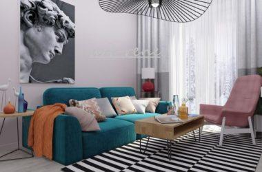 Яркий дизайн интерьера гостиной, благодаря тщательно подобранной палитре и декору