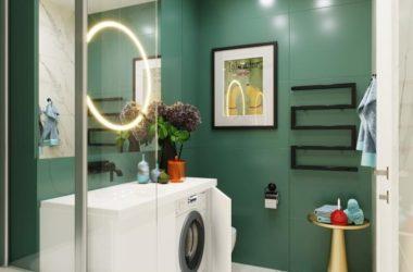 Лучшее предложение дизайна маленькой ванной с зеленой плиткой